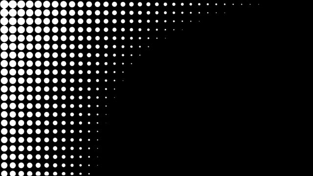 halftone dots wipe transition graphic luma alpha matte diagonal top corner down circular round shutter - graphic designer stock videos & royalty-free footage