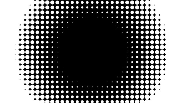 halftone dots wipe transition graphic luma alpha matte slow circular oval inwards - digital enhancement stock videos & royalty-free footage