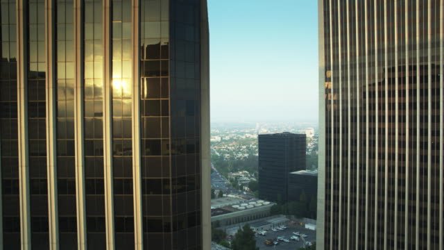 halfway up skyscrapers - drone shot - century city stock videos & royalty-free footage