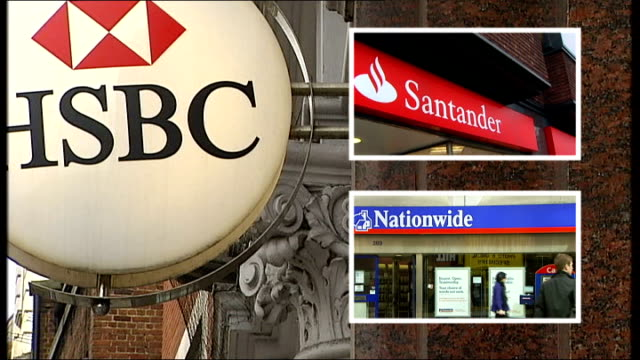 halifax raises monthly mortgage rates dates hsbc bank sign / santander sign / nationwide branch building and sign reading 'rbs the royal bank of... - ローラ・クエンスバーグ点の映像素材/bロール