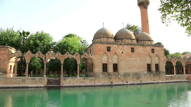 hd: halil-ur rahman mosque and holy lake - mesopotamia stock videos and b-roll footage