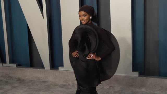 halima aden at vanity fair oscar party at wallis annenberg center for the performing arts on february 09, 2020 in beverly hills, california. - vanity fair oscar party stock videos & royalty-free footage