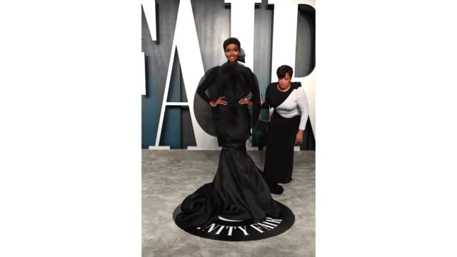 halima aden attends the 2020 vanity fair oscar party hosted by radhika jones at wallis annenberg center for the performing arts on february 09 2020... - after party stock videos & royalty-free footage