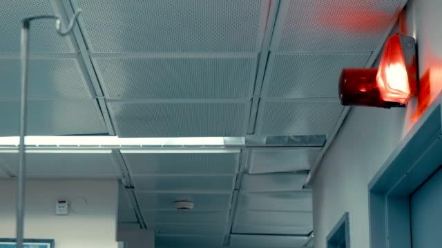 hall in ospedale con allarme rosso sulla parete - allarme video stock e b–roll