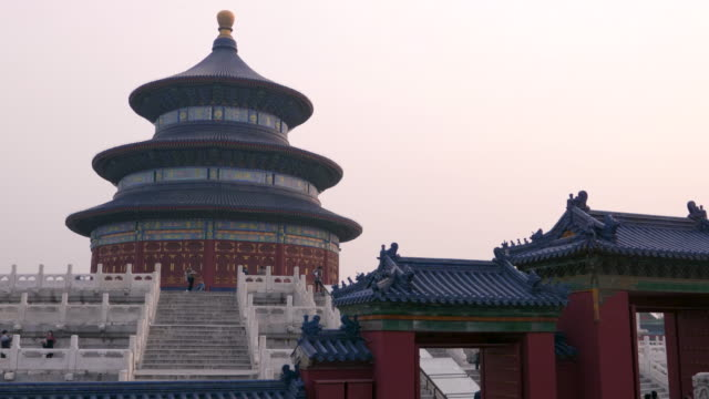 vidéos et rushes de ms hall of prayer for good harvests at sunset, temple of heaven, unesco world heritage site, beijing, china - temple du ciel