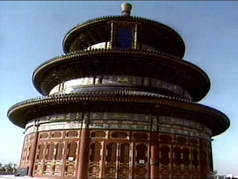 vidéos et rushes de hall of prayer for good harvests circular building ms blue roof top ming qing dynasty - temple du ciel
