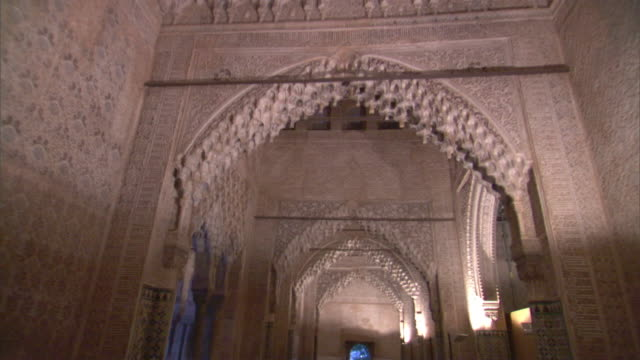 ms, la, hall of two sisters in alhambra palace, granada, andalusia, spain - spain stock videos & royalty-free footage