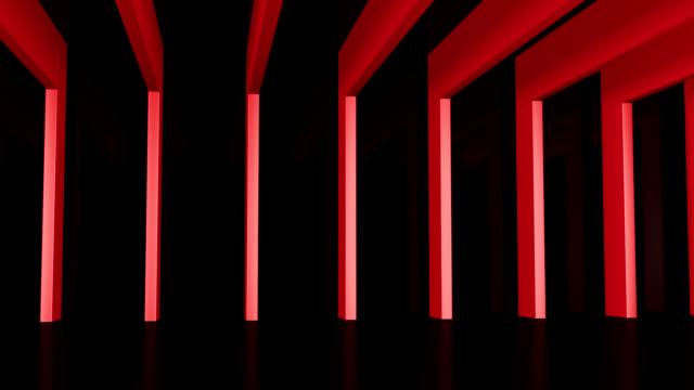 Saal mit roten Balken