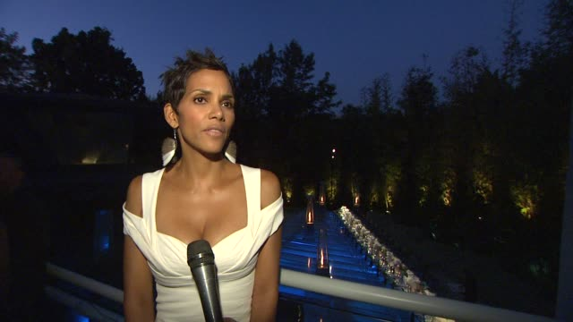 Halle Berry on the collection from Tiffany Frank Gehry at the Tiffany Co And Frank Gehry Debut The Gehry Watercolor Collection For Tiffany Co at Los...
