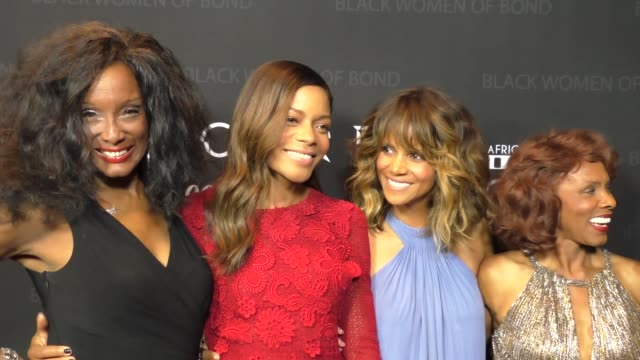 halle berry, trina parks, naomie harris & gloria hendry at the spectre - the black women of bond tribute at california african american museum in los... - james bond fictional character stock-videos und b-roll-filmmaterial