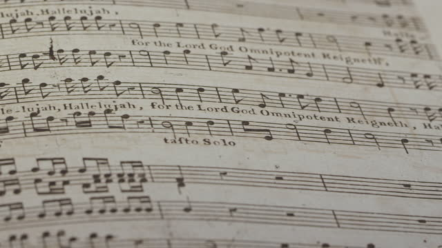 hallelujah music from handel's messiah 1st printing from the 1700's - sheet music stock videos & royalty-free footage