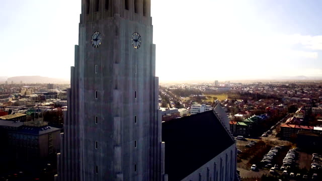 hallgrimskirkja cathedral in reykjavik iceland - reykjavik stock videos and b-roll footage