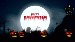 Halloween background with bloody text, pumpkins, castle, bats. 4k animation