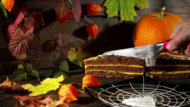 Halloween cake slicing