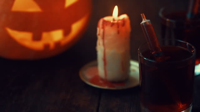 halloween candle burning - jack o' lantern stock videos and b-roll footage