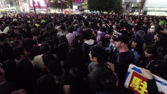 halloween celebration in shibuya - street party stock videos & royalty-free footage