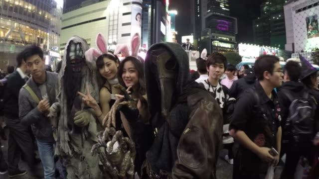halloween celebration in shibuya - halloween stock videos & royalty-free footage