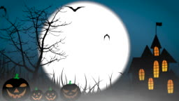 Halloween colourful theme animation background, with scary moving trees and hovering bats on moon sky. 4k