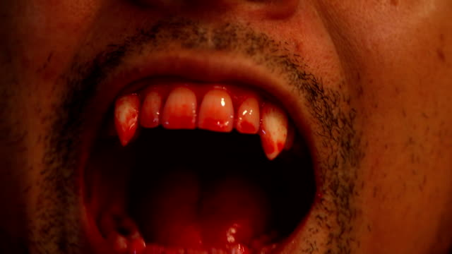 halloween concept : close up of vampire  teeth - human teeth stock videos and b-roll footage