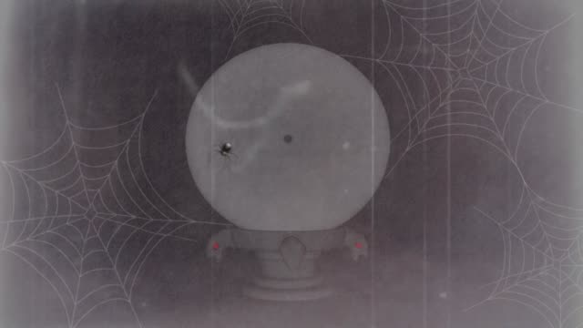 halloween crystal ball with a girly ghost, skull & an all-seeing eye, depicted in an imaginative way. retro victorian style - old-fashion movie rustic like mood. - 19th century style stock videos & royalty-free footage