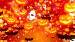 Halloween Cute Party on Orange Background,Loop