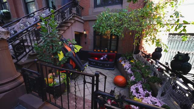 stockvideo's en b-roll-footage met halloween decoration at upper east manhattan - graaf dracula