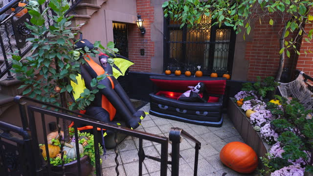 halloween decoration at upper east manhattan - coffin stock videos & royalty-free footage