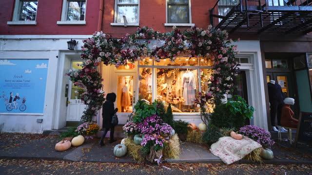 halloween decoration at west village manhattan - buying stock videos & royalty-free footage
