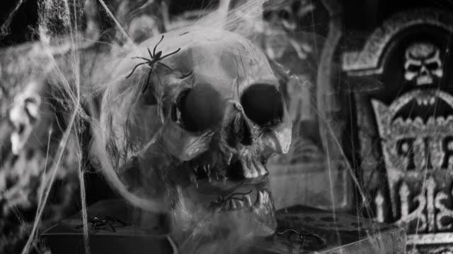 decorazione di halloween con teschio, fulmine e nebbia - viraggio monocromo video stock e b–roll