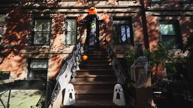 halloween decorations in upper east manhattan area. people take photographs and enjoy to watch the decoration on october 31 2020 in new york ny usa. - baby boys stock videos & royalty-free footage