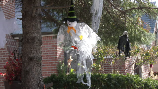 Halloween Decorations On Residential Home