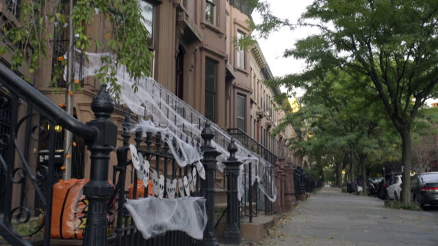 halloween decorations - front stoop stock videos and b-roll footage