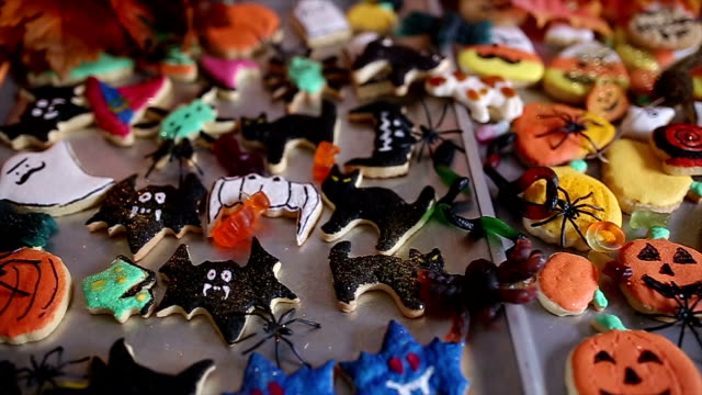 halloween homemade gingerbread cookies - halloween wallpaper stock videos and b-roll footage