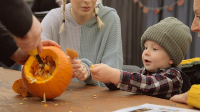halloween is exciting! - carving craft product stock videos & royalty-free footage