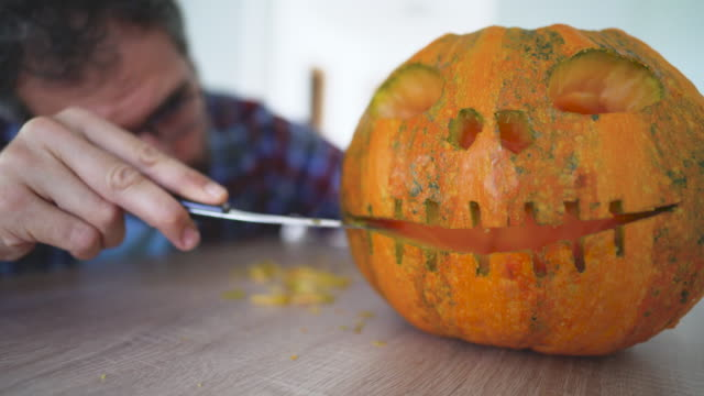 halloween is just around the corner! - carving knife stock videos and b-roll footage