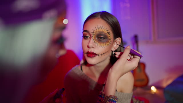 halloween make-up - hipster culture stock videos & royalty-free footage