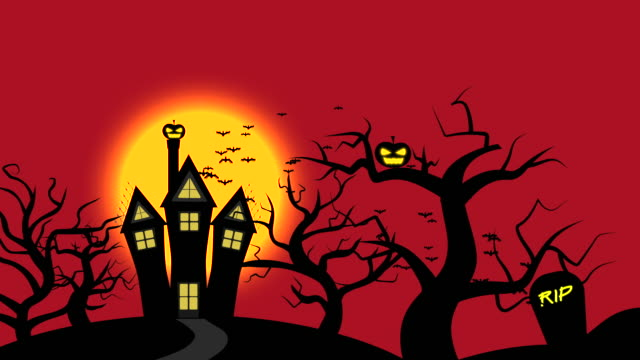 halloween night animation with red sky and full moon, red color theme - jack o' lantern stock videos and b-roll footage