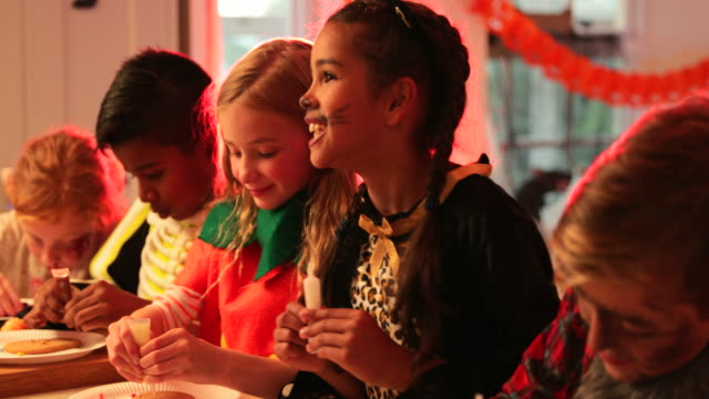 halloween party activities - pre adolescent child stock videos & royalty-free footage