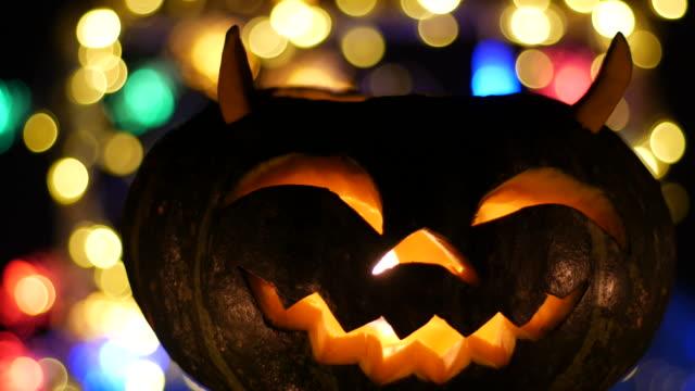 halloween pumkin bokeh background - halloween wallpaper stock videos and b-roll footage