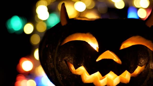 halloween pumkin bokeh light background - halloween wallpaper stock videos and b-roll footage