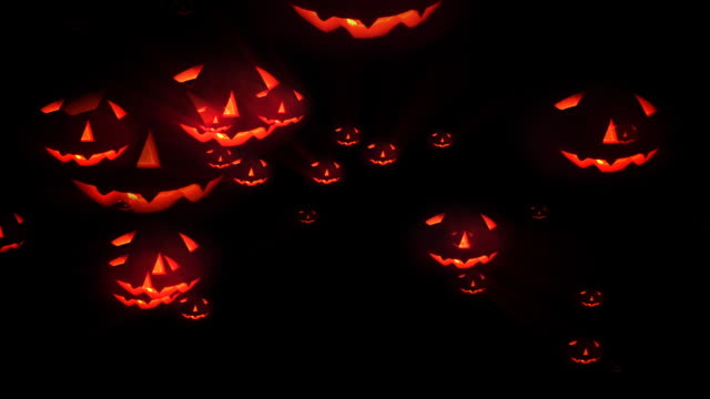 halloween pumpkin attack, loopable - hd - jack o' lantern stock videos and b-roll footage
