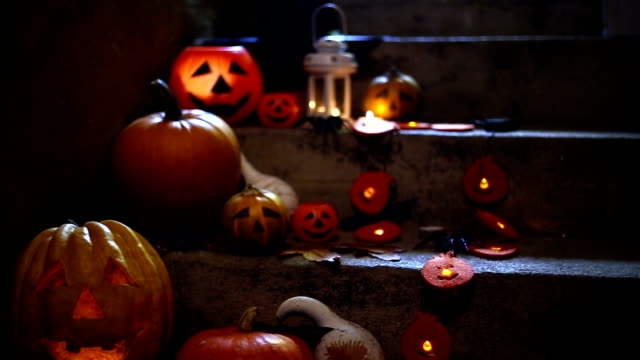 halloween pumpkin decoration on stone stairs - decoration stock videos & royalty-free footage