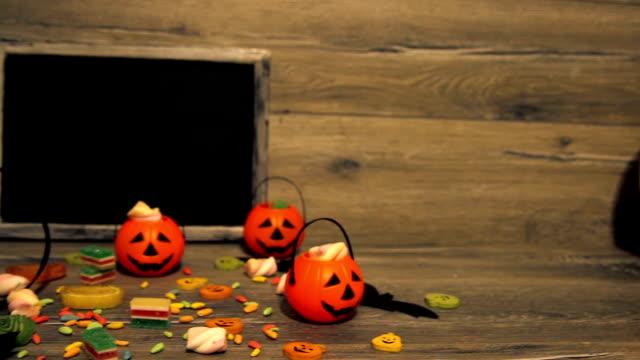 halloween pumpkin head jack lantern on wooden background - november stock videos & royalty-free footage