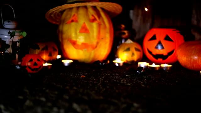 halloween pumpkin head jack lantern - halloween wallpaper stock videos and b-roll footage