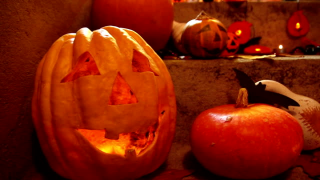halloween pumpkin head jack lantern - ornate stock videos & royalty-free footage