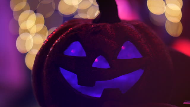 halloween pumpkin in party event - light natural phenomenon stock videos & royalty-free footage