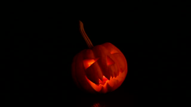 halloween pumpkin lantern scary face - interconnect plug stock videos & royalty-free footage