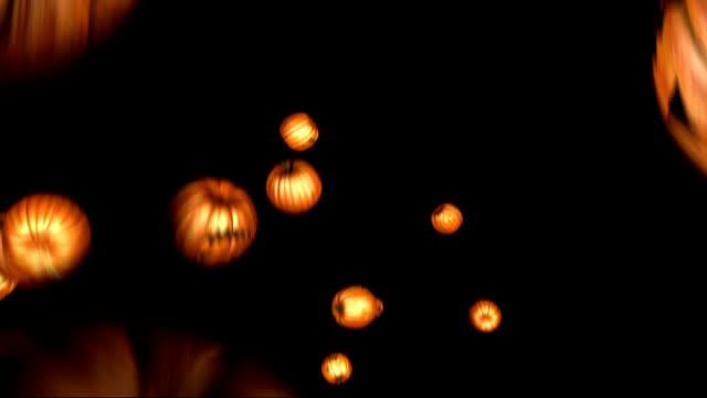 halloween pumpkin rain transition - pumpkin stock videos & royalty-free footage