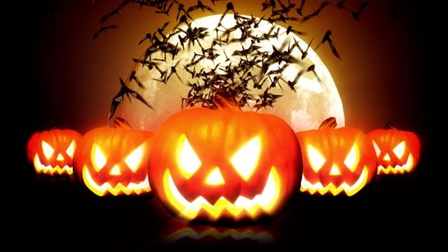 halloween pumpkins and bats hd - halloween wallpaper stock videos and b-roll footage