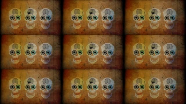 vídeos de stock e filmes b-roll de halloween scull - animated video - different scenes - spirituality